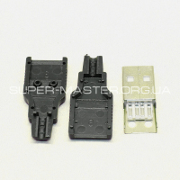 Штекер USB 2.0 Type B Type A USB 4 Pin черный
