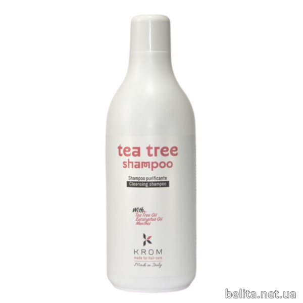 KROM | TEA TREE Шампунь очищающий с маслом чайного дерева, маслом эвкалипта и ментолом, 1000 мл
