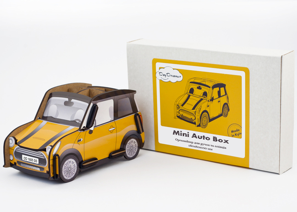 pen holder mini auto box (yellow), pencil holder, office desk organizer, stationary, constructor, daydreamer, made in ukraine