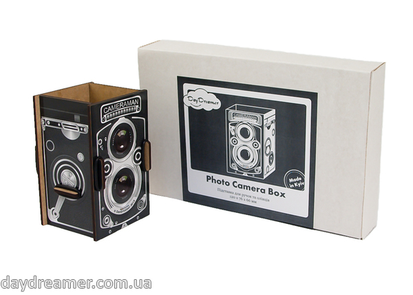 pen holder  photo camera box, pencil holder, office desk organizer, stationary, constructor, daydreamer, made in ukraine