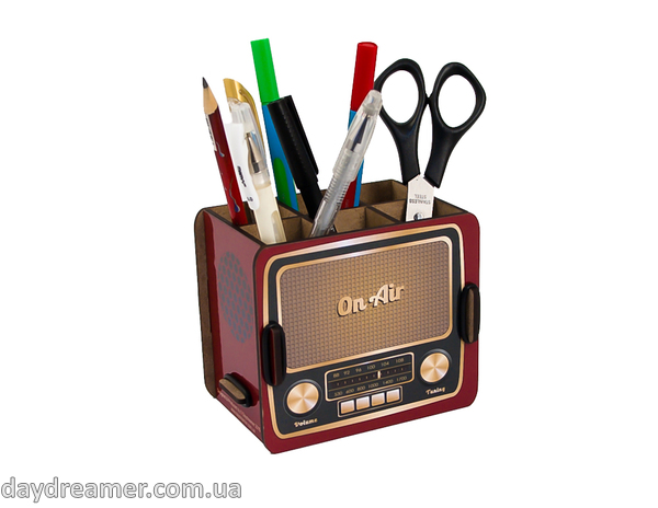 pen holder vintage radio box, pencil holder, office desk organizer, stationary, constructor, daydreamer