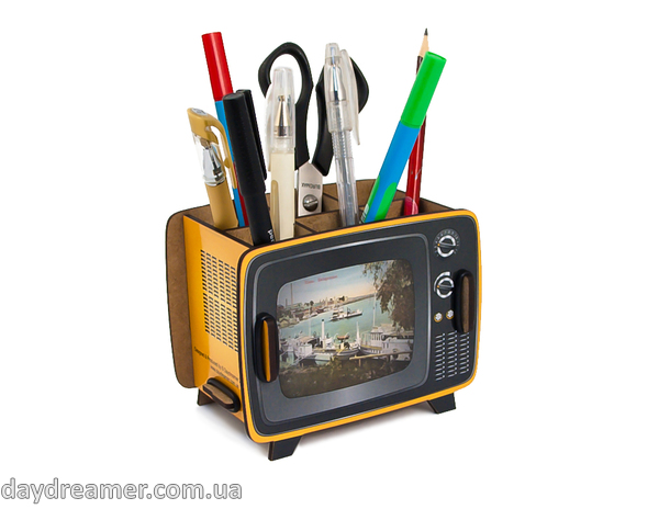pen holder retro tv box, pencil holder, office desk organizer, stationary, constructor, daydreamer