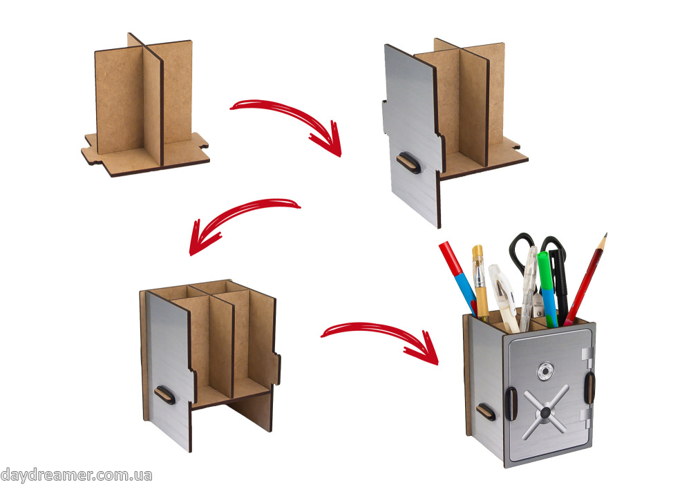 pen holder safe box, pencil holder, office desk organizer, stationary, constructor, daydreamer