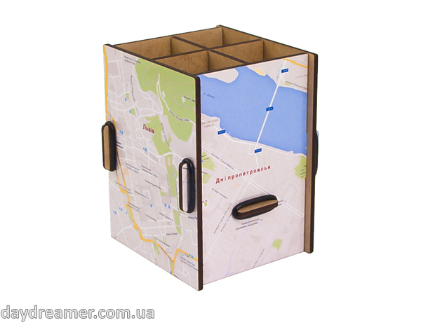 pen holder city map box, pencil holder, office desk organizer, stationary, constructor, daydreamer
