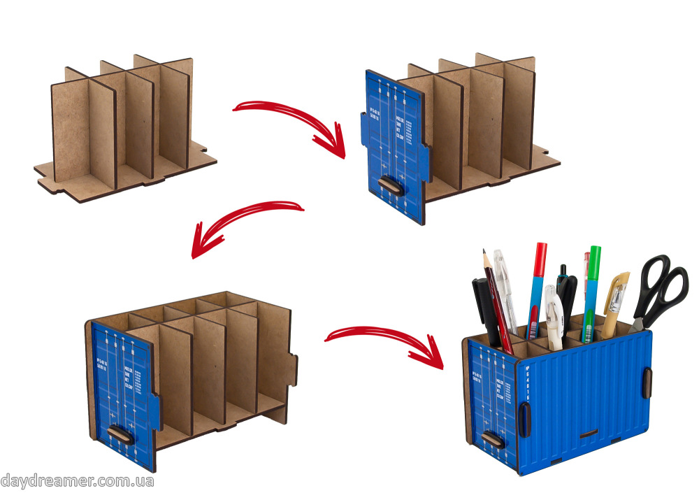 pen holder container box (blue), pencil holder, office desk organizer, stationary, constructor, daydreamer