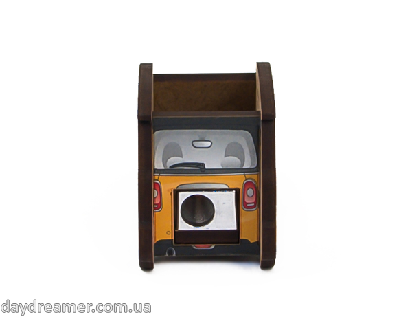 pencil sharpener mini auto yellow, stationary, daydreamer shop, made in ukraine