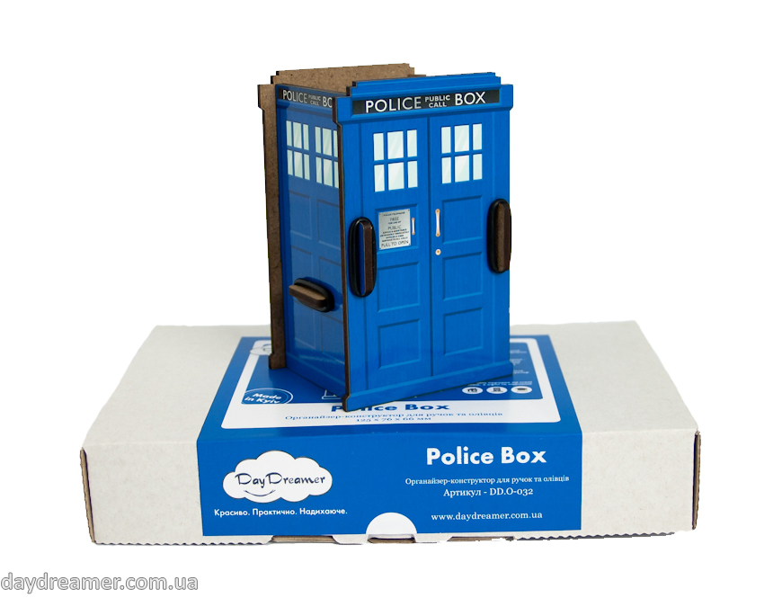 pen holder police box, pencil holder, office desk organizer, stationary, constructor, daydreamer
