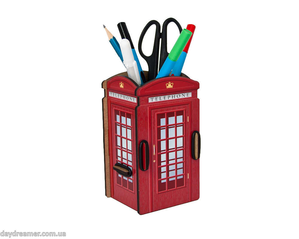 Pen Holder - London Telephone Booth Box, red booth, desktop organizer for pens and pencils, stationary helper, statoinery, creative design, exclusive gift, organic materials, beautiful, practical, inspirational, daydreamer shop, studio