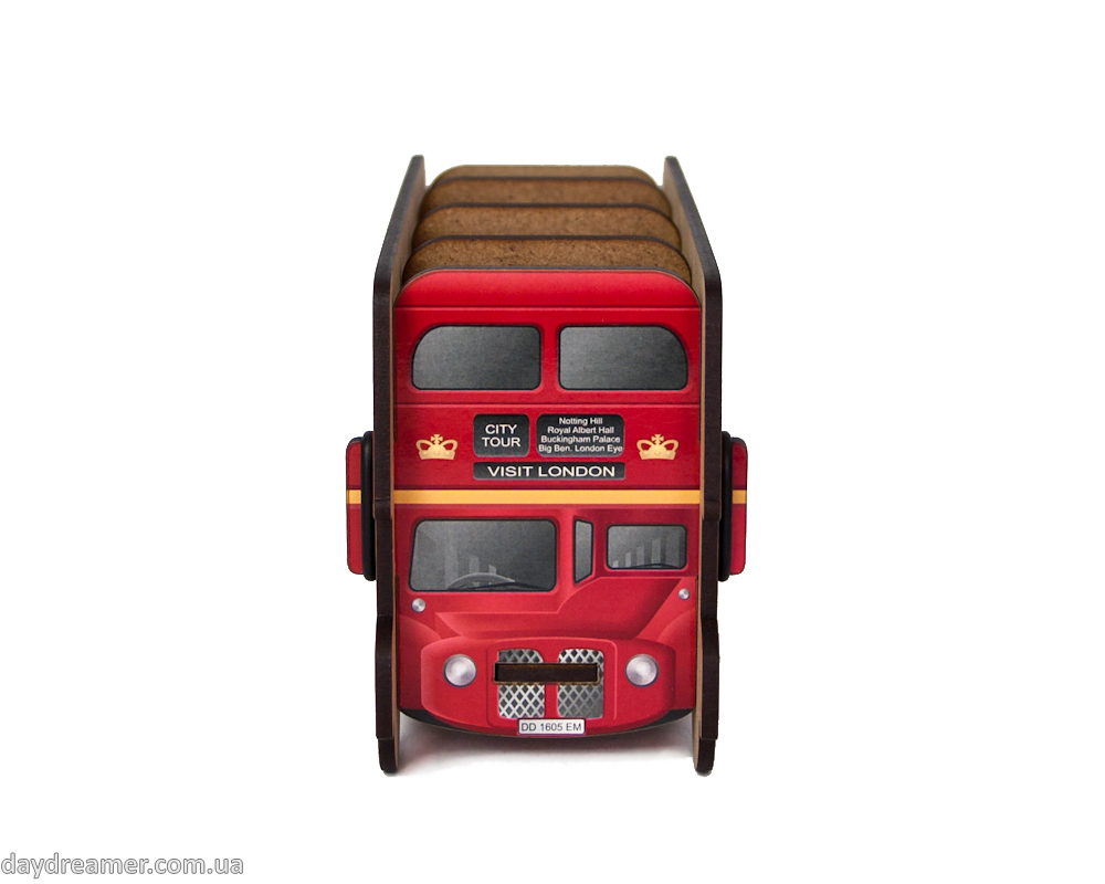 Pen Holder London Bus Box, red london bus, red double decker bus, desktop organizer for pens and pencils, stationary helper, statoinery, creative design, exclusive gift, organic materials, beautiful, practical, inspirational, daydreamer shop, studio