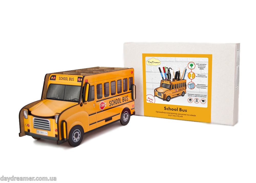 Pen Holder School Bus Box, desktop organizer for pens and pencils, stationary helper, statoinery, creative design, exclusive gift, organic materials, beautiful, practical, inspirational, daydreamer shop, studio