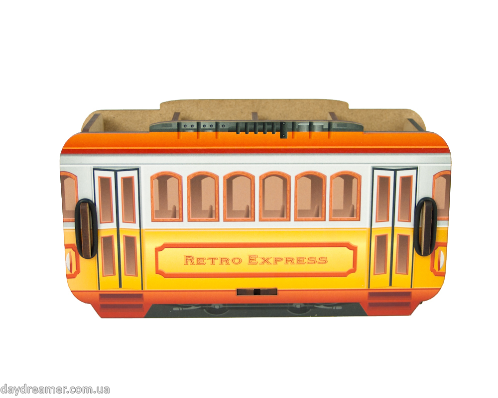 pen holder retro tram box, desktop organizer for pens and pencils, stationary helper, statoinery, creative design, exclusive gift, organic materials, beautiful, practical, inspirational, daydreamer shop, studio