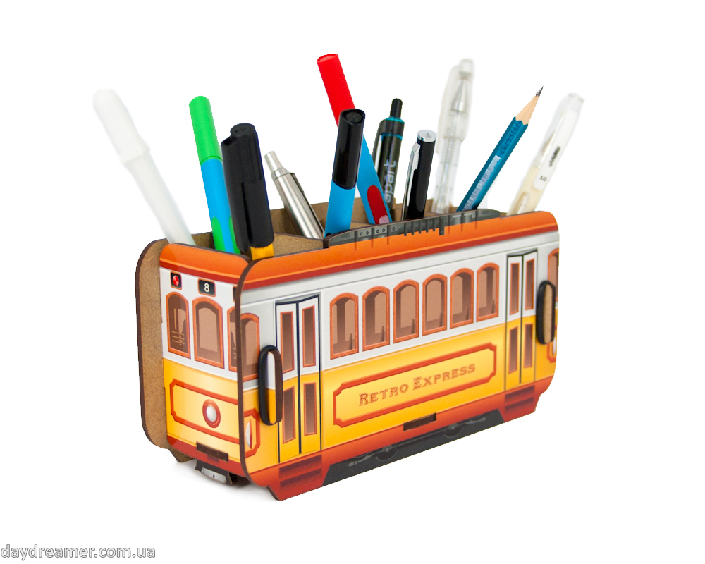 Pen Holder - Retro Tram Box
