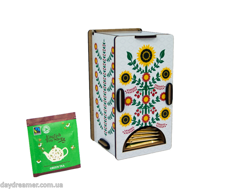 tea bags dispenser cunflowers, tea bags organizer, kitchen organizer, daydreamer shop, made in ukraine