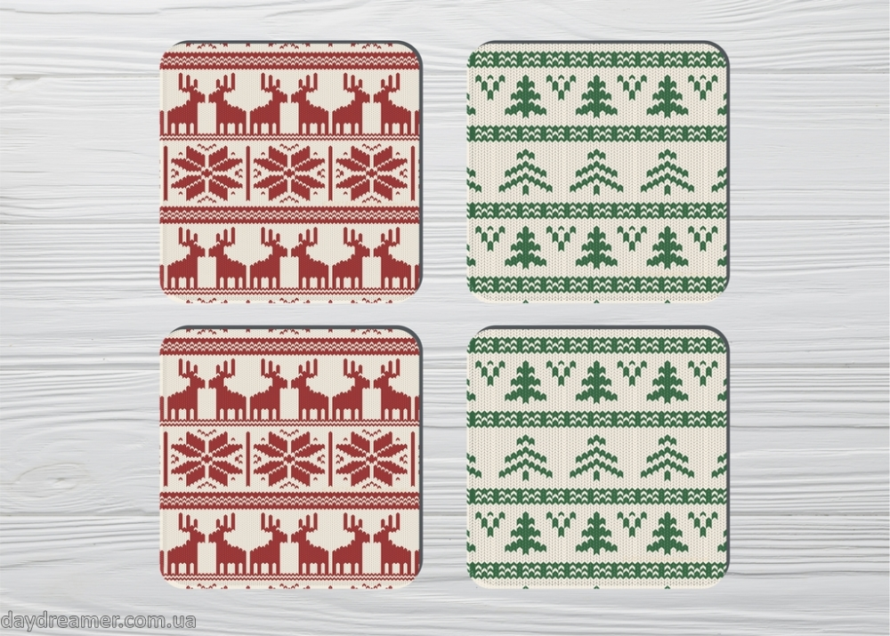 Coasters Christmas Deer (4pc)