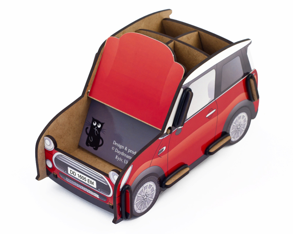 pen holder mini auto box (red), pencil holder, office desk organizer, stationary, constructor, daydreamer, made in ukraine